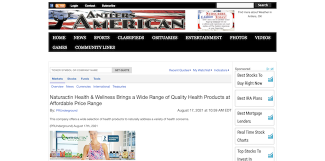 Antlers America Naturactin Health and Wellness
