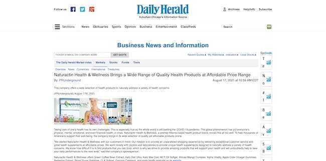 Daily Herald Naturactin Health and Wellness