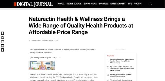 Digital Journal Naturactin Health and Wellness
