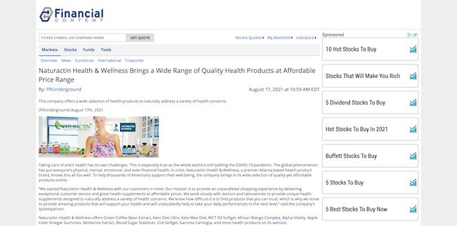 Financial Content Naturactin Health and Wellness