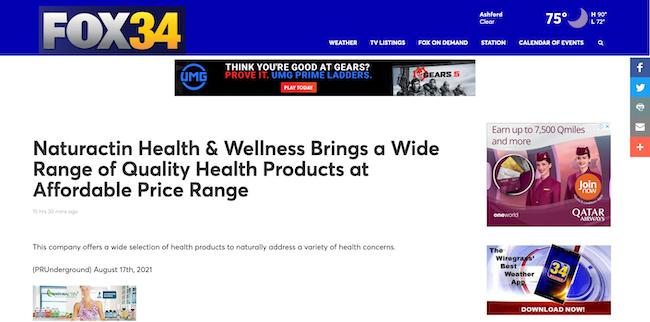Fox34 Naturactin Health and Wellness