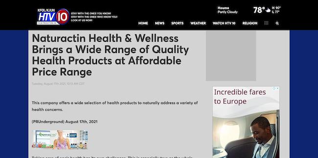 HTV10 Naturactin Health and Wellness