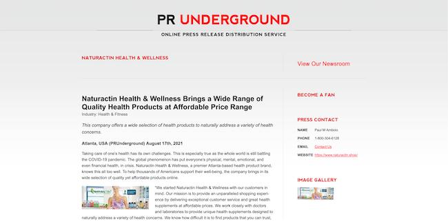PR Underground Naturactin Health and Wellness