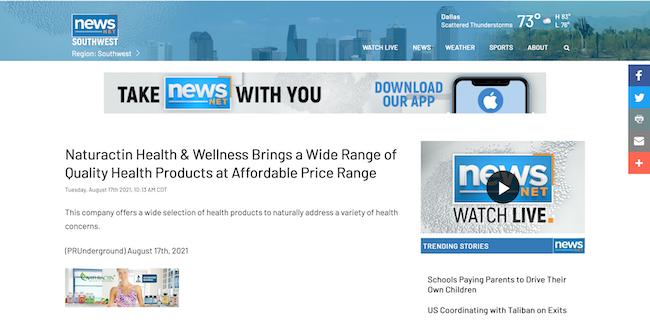News Net Naturactin Health and Wellness