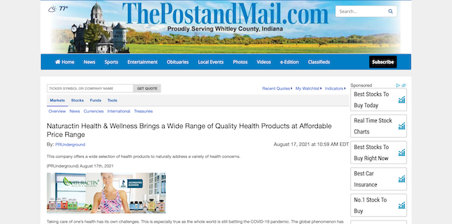 Post and Mail Naturactin Health and Wellness
