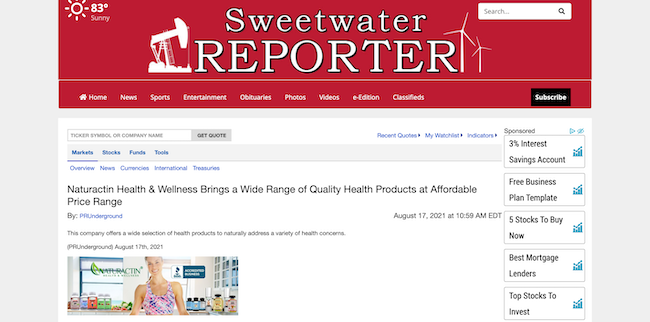 Sweetwater Reporter Naturactin Health and Wellness